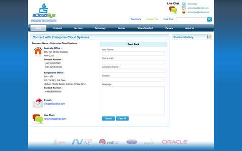 Screenshot of Contact Page ecloudsys.com - Contact Us - captured Nov. 2, 2014