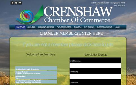 Screenshot of Home Page crenshawchamber.com - Crenshaw Chamber of Commerce - Established in 1933, the Crenshaw Chamber of Commerce has been a viable presence in the Crenshaw area for almost 76 years. It represents the Crenshaw - captured Jan. 23, 2017