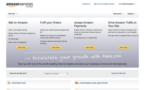 Screenshot of Services Page amazon.co.uk - Services : Amazon Services Europe - captured Sept. 19, 2014