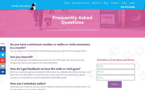 Screenshot of FAQ Page windycitypaws.com - FAQ - Windy City Paws - captured Nov. 30, 2016