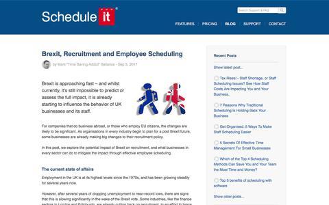 Screenshot of Blog scheduleit.co.uk - Brexit, Recruitment and Employee Scheduling - captured Oct. 29, 2017