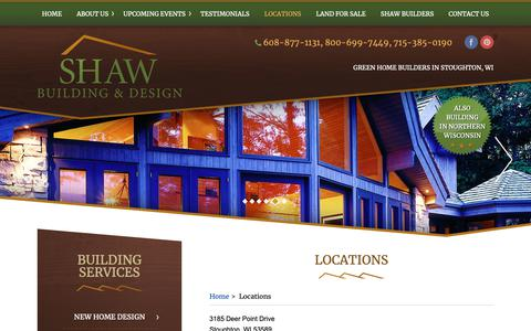 Screenshot of Locations Page shawbuilders.com - Our Locations | Stoughton, New Berlin, Roxbury, WI - captured Oct. 18, 2018