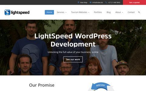 Screenshot of Home Page lsdev.biz - Cape Town WordPress & WooCommerce | LightSpeed - captured Oct. 26, 2015