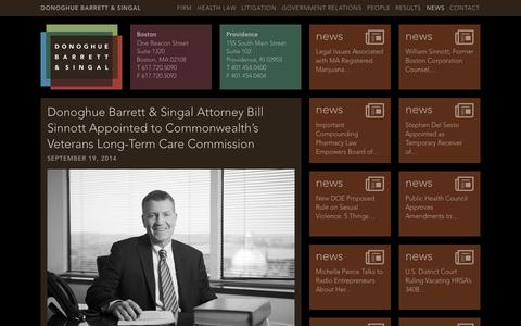 Screenshot of Press Page dbslawfirm.com - Donoghue Barrett & Singal Attorney Bill Sinnott Appointed to Commonwealth's Veterans Long-Term Care Commission | Donoghue Barrett & Singal - captured Nov. 1, 2014