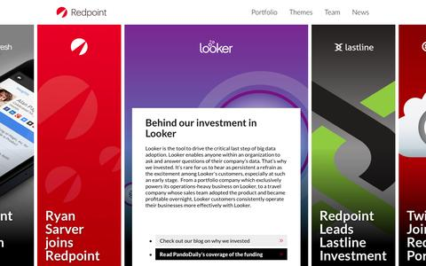 Screenshot of Home Page redpoint.com - Redpoint Ventures - Partners in Innovation - captured Sept. 19, 2014