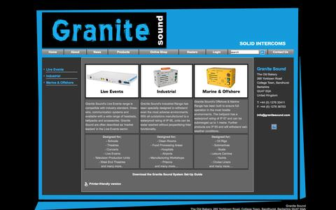 Screenshot of Products Page granitesound.com - Granite Sound - Products - captured Oct. 3, 2014