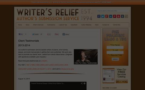 Screenshot of Testimonials Page writersrelief.com - Writer's Relief | Customer Reviews, Client Testimonials, Referrals - captured Sept. 19, 2014