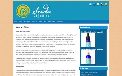 Screenshot of Terms Page saadiaorganics.com - Terms of Use | Saadia Organics Argan Oil | 100% Pure, Authentic, Eco-Friendly and Ethical Argan - captured Sept. 18, 2014