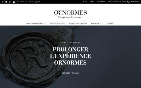Screenshot of Services Page ornormes.fr - Accédez a un panel de services sur-mesure voyageurs premium Or'Normes. - captured Sept. 27, 2018