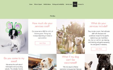 Screenshot of FAQ Page fortheloveofdogsmobilepetsalon.com - Mobile Grooming | Westfield | For the Love of Dogs Mobile Pet Salon | FAQs - captured July 3, 2018