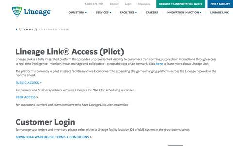 Screenshot of Login Page lineagelogistics.com - Customer Login | Lineage Logistics - captured Dec. 6, 2019