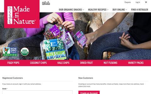 Screenshot of Login Page madeinnature.com - Customer Login - captured July 27, 2018