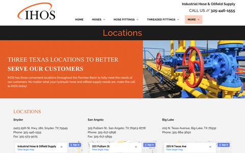 Screenshot of Locations Page ihoseandsupply.com - Industrial Hose & Oilfield Supply - Snyder, TX - Locations - captured Oct. 11, 2018