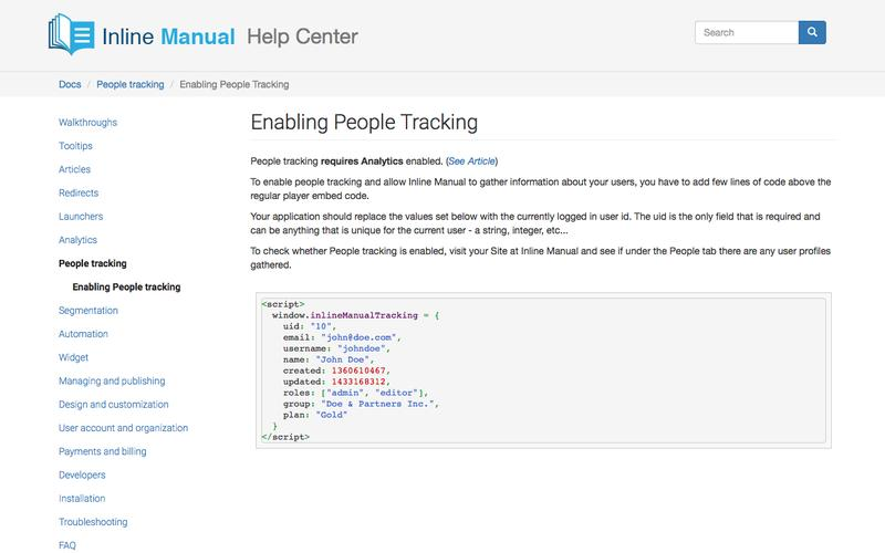 Enabling People Tracking | Inline Manual Help Center