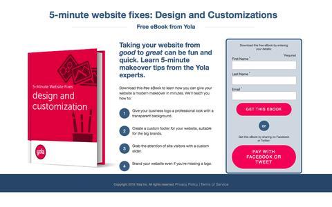 Screenshot of yola.com - 5-minute website fixes: Design and Customizations   Yola.com - captured Aug. 19, 2016
