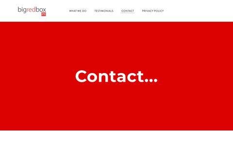 Screenshot of Contact Page bigredboxpr.com - Contact - Big Red Box PR - captured Feb. 16, 2020