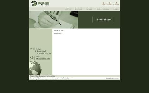 Screenshot of Terms Page davidlross.com - || David L. Ross and Associates || - captured Oct. 5, 2014
