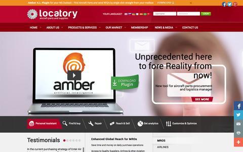 Screenshot of Home Page locatory.com - Aircraft Parts, Avionics, Instruments, GSE, Component Repairs, Aviation Logistics - Locatory.com - captured Oct. 3, 2014