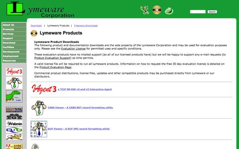 Screenshot of Products Page lymeware.com - Lymeware Corporation Products - captured Oct. 3, 2014