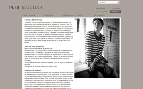 Screenshot of Terms Page muubaa.com - Terms & Conditions - Muubaa Designer Leather For Women - captured Oct. 26, 2014