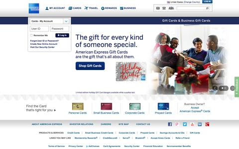 Screenshot of Home Page americanexpress.com - American Express Credit Cards, Rewards, Travel and Business Services - captured Dec. 10, 2015