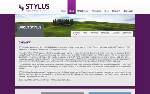Screenshot of About Page stylusam.com - STYLUS Asset Management » About Us - captured Oct. 3, 2014