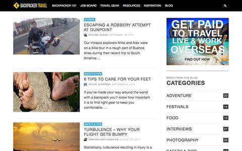 Screenshot of Blog backpackertravel.org - Travel Blog - Backpacker Travel - captured Sept. 22, 2014