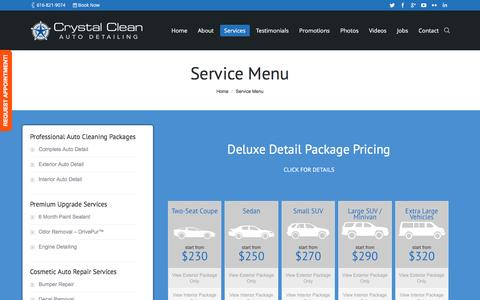 Screenshot of Services Page crystalcleanautodetailing.com - Service Menu - Crystal Clean Auto Detailing LLC - captured July 17, 2016