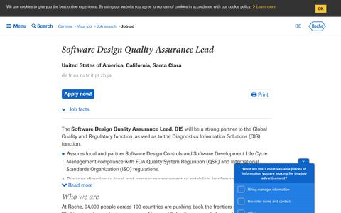 Screenshot of Jobs Page roche.com - Roche - Software Design Quality Assurance Lead - captured July 16, 2019
