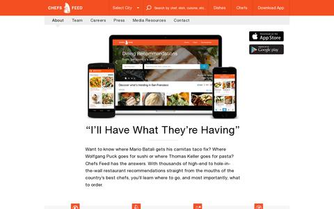 Screenshot of About Page chefsfeed.com - Best Dishes Recommended by Top Chefs |Chefs Feed - captured July 19, 2014