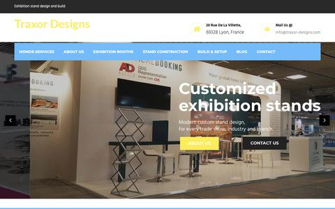Screenshot of Home Page traxor-designs.com - Exhibition stands, design and build. Booth construction - captured Nov. 18, 2018