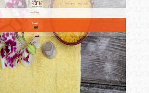 Screenshot of Press Page omsoma.com - Soma Wellness Center » Press - captured Oct. 4, 2014