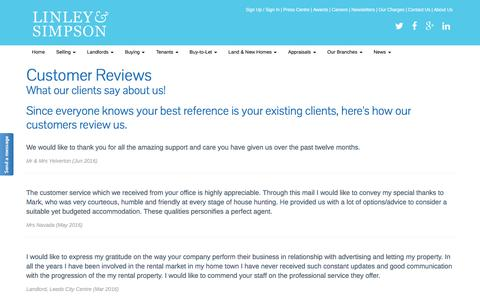Screenshot of Testimonials Page linleyandsimpson.co.uk - Customer Reviews | Letting Agents - Linley & Simpson, Leeds, Yorkshire » Linley & Simpson - captured July 15, 2016