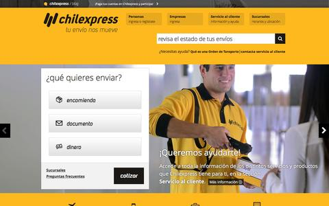 Screenshot of Home Page chilexpress.cl - Empresa de Courier Nacional e Internacional, encomiendas y envíos | Chilexpress - captured Jan. 27, 2016