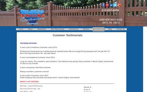 Screenshot of Home Page tri-borofencing.com - Tri-Boro Fencing Contractors Inc. | 610-837-6439 | Fence Company - captured Oct. 4, 2015