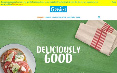 Screenshot of Products Page geniusglutenfree.com - Deliciously good | Products | Genius Gluten Free - captured Sept. 27, 2018