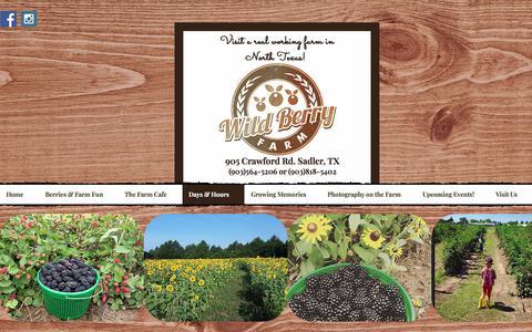 Screenshot of Hours Page txberry.com - Wild Berry Farm- Blueberry & Blackberry Farm/Corn Maze & Pumpkin Patch   Days & Hours - captured July 1, 2018