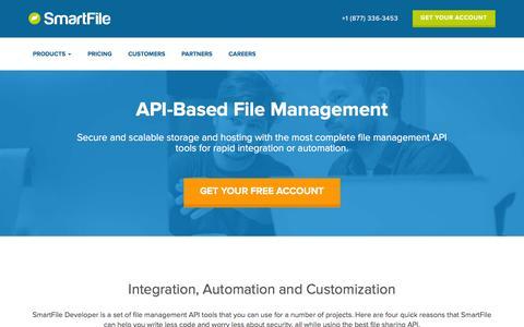 Screenshot of Developers Page smartfile.com - File Hosting API for Simple Integration | SmartFile Developer - captured Feb. 7, 2016