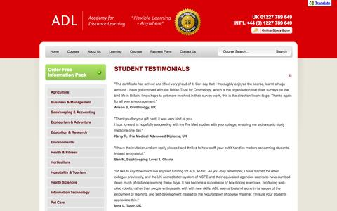 Screenshot of Testimonials Page adlhomestudy.co.uk - Student Testimonials - About Us - Academy for Distance Learning - Distance Learning Courses - captured Oct. 4, 2014