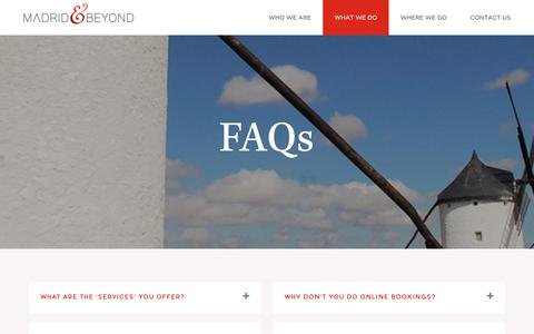 Screenshot of FAQ Page madridandbeyond.com - Frequently asked questions | FAQ | Madrid & Beyond - captured June 24, 2019