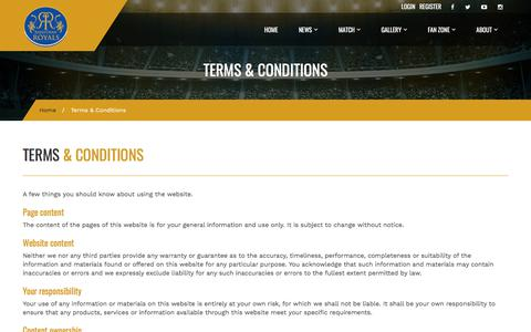 Screenshot of Terms Page rajasthanroyals.com - Terms & Conditions – Rajasthan Royals - captured Sept. 20, 2018