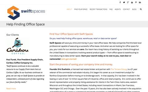 Screenshot of About Page swiftspaces.com - Help Finding Office Space - captured Jan. 12, 2016