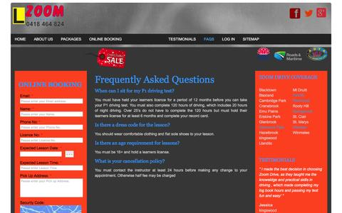 Screenshot of FAQ Page zoomdrive.com.au - FAQS | Driving Test in Penrith, Glenmore park, Windsor, Richmond, Springwood - Zoom Driving School - captured Feb. 18, 2016