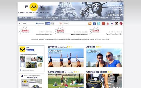Screenshot of Home Page emy.org - Cursos de Idiomas en el Extranjero - Aprender inglés | EMY - captured Oct. 1, 2014