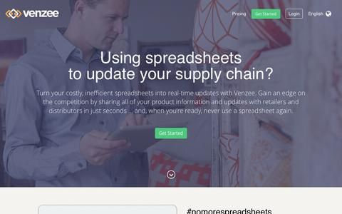 Screenshot of Home Page venzee.com - Venzee | Turn spreadsheets into real-time integration #nomorespreadsheets - captured Sept. 6, 2015