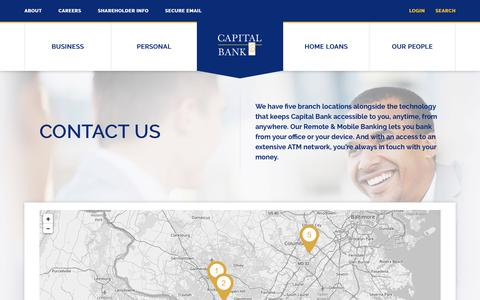 Screenshot of Contact Page Locations Page capitalbankmd.com - Contact Us - Capital Bank - captured July 12, 2018