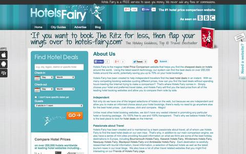 Screenshot of About Page hotels-fairy.com - About Hotels Fairy - The Magical Hotel Price Comparison Website - captured Sept. 30, 2014