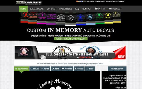 Screenshot of Home Page in-memory-decals.net - Custom Memorial Auto Decals | In Memory Decals - captured July 9, 2018