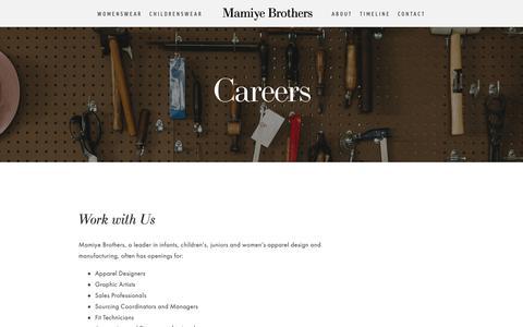 Screenshot of Jobs Page mamiye.com - Careers — Mamiye Brothers - captured Oct. 2, 2018
