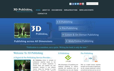 Screenshot of Home Page 3dpublishing.in - 3D Publishing-A Digital & Pre-Publishing Service Provider. - captured Oct. 1, 2014